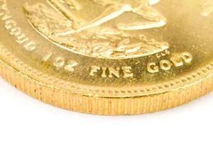 Krügerrand Goldmünze mit Kratzern und Verunreinigungen