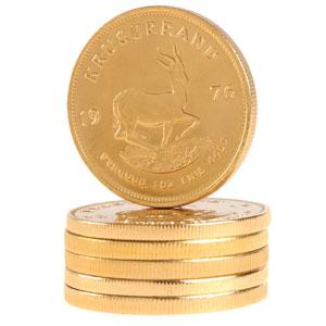 Stapel Krügerrand Goldmünzen