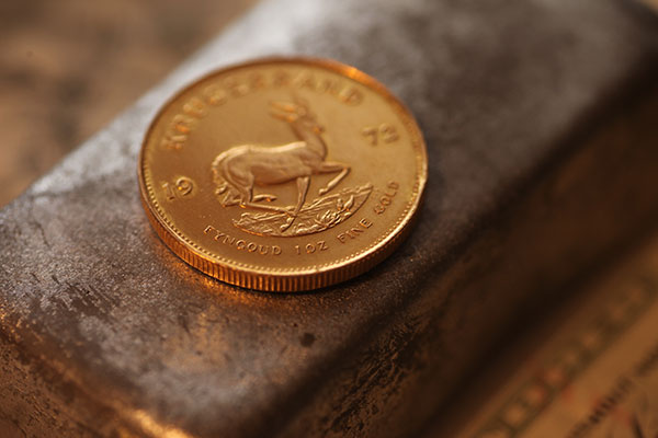 Münzprägung von Krügerrand Goldmünzen in der South African Mint